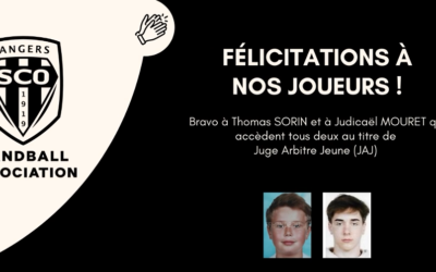 Un grand bravo à nos deux jeunes arbitres : Thomas SORIN et Judicaël MOURET !